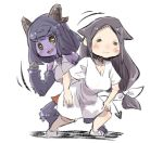 2girls :3 :d bangs blush bow brown_hair closed_eyes closed_mouth collared_shirt commentary_request curled_horns demon_girl demon_horns demon_tail dress eyebrows_visible_through_hair fur grey_shirt hair_bow hooves horns long_hair low-tied_long_hair monster_girl multiple_girls open_mouth original parted_bangs puffy_short_sleeves puffy_sleeves purple_hair sharp_teeth shirt short_sleeves sidelocks sleeveless sleeveless_shirt smile standing tail teeth u-non_(annon'an) very_long_hair white_background white_bow white_dress yellow_eyes