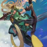 1girl animal_ears atalanta_(fate) boots bow_(weapon) cat_ears commentary dress fate/apocrypha fate/grand_order fate_(series) fighting gloves gradient_hair green_dress green_eyes green_hair hair_lift highres holding holding_bow_(weapon) holding_weapon jumping long_hair multicolored_hair open_mouth picube525528 puffy_sleeves sky thigh-highs thigh_boots two-tone_hair weapon