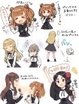 >_< ... 5girls :d absurdres ange_(princess_principal) arm_up bangs beatrice_(princess_principal) black_dress black_eyes black_hair black_neckwear blonde_hair blue_eyes blunt_bangs blush bow bowtie brown_eyes brown_hair closed_eyes dice dorothy_(princess_principal) double_bun dress eighth_note eyebrows_visible_through_hair flower grey_hair hair_between_eyes hair_flaps hair_flower hair_ornament heart highres holding holding_microphone long_hair long_sleeves microphone multiple_girls musical_note open_mouth outstretched_arm princess_(princess_principal) princess_principal red_flower school_uniform shirt side_bun sleeveless sleeveless_dress smile sorimachi-doufu spoken_ellipsis toudou_chise translation_request very_long_hair violet_eyes white_shirt wide_sleeves xd