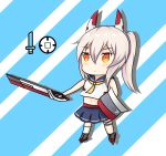1girl absurdres ayanami_(azur_lane) azur_lane bandage bandaged_leg bare_arms bare_shoulders blue_sailor_collar blue_skirt chibi commentary_request grey_footwear headgear highres holding holding_shield holding_sword holding_weapon kneehighs long_hair midriff nagato-chan navel orange_eyes pleated_skirt ponytail rudder_shoes sailor_collar school_uniform serafuku shield shirt silver_hair single_kneehigh skirt sleeveless sleeveless_shirt solo standing sword weapon white_legwear white_shirt yellow_neckwear