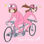 2girls @_@ anglerfish_costume bangs bicycle bicycle_helmet bodysuit brown_eyes brown_hair commentary dated girls_und_panzer ground_vehicle hat helmet highres italian kadotani_anzu long_hair looking_at_another looking_back multiple_girls nishizumi_miho onsen_tamago_(hs_egg) open_mouth pink_bodysuit pink_hat riding short_hair smile tandem_bicycle twintails