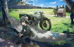 1girl animal animal_on_head belt bird bird_on_head black_eyes black_hair boots closed_mouth cup day goggles goggles_on_headwear grass green_jacket green_pants ground_vehicle gun hammock hat hermes holding holding_gun holding_weapon horse jacket kamemaru kino kino_no_tabi long_sleeves motor_vehicle motorcycle on_head outdoors pants pouch short_hair sitting solo steam tree wagon weapon