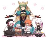 ^_^ animal_ears atalanta_(fate) bandage bandaged_arm blonde_hair braid cat_ears cat_tail character_request child closed_eyes commentary_request dagger fate/grand_order fate_(series) fujimaru_ritsuka_(female) green_eyes green_hair hair_bobbles hair_ornament hat jack_the_ripper_(fate/apocrypha) knife long_hair multicolored_hair navel nm222 nursery_rhyme_(fate/extra) orange_hair outstretched_arms pink_eyes puffy_short_sleeves puffy_sleeves short_hair short_sleeves simple_background smile spread_arms table tail twin_braids two-tone_hair weapon white_background white_hair younger