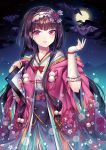 1girl absurdres bat brown_hair clouds earrings fate/grand_order fate_(series) fingernails floral_print fujimaru_ritsuka_(female) full_moon hair_ornament hand_up highres japanese_clothes jewelry kimono long_hair may_(2747513627) meta miyamoto_musashi_(fate/grand_order) moon night night_sky origami osakabe-hime_(fate/grand_order) parted_lips pink_eyes sidelocks sky solo very_long_hair wide_sleeves