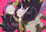 1boy 1girl black_gloves breasts brown_eyes cleavage cloak female_my_unit_(fire_emblem:_kakusei) fire_emblem fire_emblem:_kakusei gloves grey_hair hood hood_down hooded_cloak itou_(very_ito) long_hair long_sleeves male_my_unit_(fire_emblem:_kakusei) my_unit_(fire_emblem:_kakusei) open_mouth short_hair simple_background twintails wide_sleeves