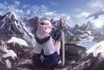 1girl blue_sky cancell capelet closed_mouth clouds commentary day dual_wielding from_behind hair_between_eyes horns kneehighs knees_together_feet_apart looking_at_viewer looking_back mountain original outdoors red_eyes scenery silver_hair sitting sky snow solo sword weapon