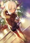1girl :o alternate_costume blonde_hair blush braid can canned_coffee dutch_angle eyebrows_visible_through_hair french_braid fur-trimmed_collar girls_frontline green_eyes highres jacket legwear_under_shorts looking_at_viewer pantyhose shorts solo steam ushi_(newrein) v-shaped_eyebrows welrod_mk2_(girls_frontline) winter winter_clothes