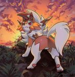 background clouds gen_7_pokemon grass highres horizon lycanroc no_humans pinkgermy pokemon pokemon_(creature) red_eyes solo sunset tail
