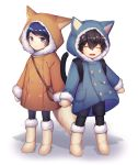 2boys amamiya_ren animal_hood bag black_hair blue_eyes blue_hair boots cat_hood cat_tail child closed_eyes coat expressionless fox_hood fox_tail fur_trim happy hood kitagawa_yuusuke male_focus mittens multiple_boys persona persona_5 smile tail winter_clothes winter_coat younger yulu_syukita