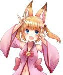 1girl animal_ears armpits arms_up blonde_hair blue_eyes detached_sleeves fangs fox_ears hair_ornament hairclip japanese_clothes kemomimi_oukoku_kokuei_housou long_hair mikoko_(kemomimi_oukoku_kokuei_housou) navel open_clothes open_mouth open_shirt pink_shirt shadow_puppet shirt smile solo twintails upper_body
