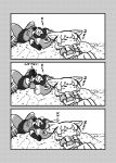 2girls 3koma :3 animal_ears blush_stickers bow bowtie closed_eyes comic common_raccoon_(kemono_friends) elbow_gloves fang fennec_(kemono_friends) fox_ears gloves greyscale highres kemono_friends kotobuki_(tiny_life) lying monochrome multiple_girls notice_lines on_back outdoors pleated_skirt puffy_short_sleeves puffy_sleeves raccoon_ears raccoon_tail short_hair short_sleeves silent_comic skirt sleeping smile tail translation_request vest zzz
