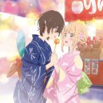 2girls :o alternate_hairstyle asagao_to_kase-san blonde_hair blue_kimono blush brown_hair candy_apple dragonfly_print fan flower food hair_flower hair_ornament hairclip hand_grab hand_holding japanese_clothes kase_tomoka kimono looking_at_another low_ponytail moon_rabbit multiple_girls official_art open_mouth pink_kimono short_hair sidelocks surprised tongue tongue_out yamada_yui yellow_eyes yukata yuri