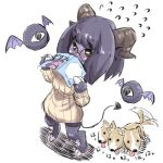 1girl afterimage animal bangs blush cerberus commentary_request covered_mouth curled_horns demon_girl demon_horns demon_tail dog eyeball eyebrows_visible_through_hair flying_sweatdrops fur glasses green_eyes holding hooves horns long_sleeves monster monster_girl nose_blush original purple_hair purple_wings ribbed_sweater round_eyewear solo standing sweater tail tail_wagging tongue tongue_out u-non_(annon'an) wings
