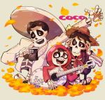 3boys acoustic_guitar bandanna black_hair bow brown_eyes charro coco_(disney) disney ernesto_de_la_cruz facial_hair flower goatee guitar hat hector_rivera highres hood instrument jacket marigold miguel_rivera multiple_boys mustache short_hair skeleton skull smile straw_hat