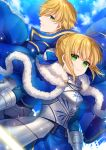 1boy 1girl ahoge armor armored_dress arthur_pendragon_(fate) artoria_pendragon_(all) bangs blonde_hair blue_bow blue_cloak blue_dress blue_sky blush bow braid breastplate breasts closed_mouth clouds cloudy_sky commentary_request day dress eyebrows_visible_through_hair fate/stay_night fate_(series) fur-trimmed_cloak fur_trim gauntlets green_eyes hair_between_eyes hair_bow hair_bun karokuchitose long_sleeves medium_breasts outdoors saber sidelocks sky smile