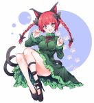 1girl :d animal_ears black_bow black_footwear black_ribbon bow braid cat_ears cat_tail commentary_request dress fang frilled_dress frills green_dress hair_bow kaenbyou_rin leg_ribbon looking_at_viewer multiple_tails open_mouth paw_print red_eyes redhead ribbon shoe_bow shoes short_hair simple_background smile solo tagme tail touhou yukimiya_(parupunta)