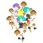 3others :3 androgynous aqua_eyes aqua_hair bangs blue_eyes blue_hair blunt_bangs colored_eyelashes flower gem_uniform_(houseki_no_kuni) gold golden_arms green_eyes green_hair heterochromia houseki_no_kuni looking_at_viewer lotus multiple_others multiple_persona necktie phosphophyllite phosphophyllite_(ll) see-through_sleeves short_hair smile spoilers white_background yellow_eyes