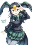 1girl :d absurdres black_hair blonde_hair bow bowtie commentary_request frilled_skirt frills fur_collar green_bow green_eyes green_skirt grey_legwear hair_between_eyes hair_ornament hairclip hand_up head_wings highres japanese_cormorant_(kemono_friends) japari_symbol kanzakietc kemono_friends long_sleeves looking_at_viewer multicolored_hair open_mouth pantyhose simple_background skirt smile solo white_background