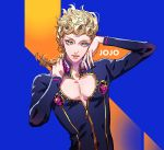 1boy androgynous blonde_hair blue_background blue_eyes blue_jacket braid closed_mouth commentary copyright_name curly_hair eyelashes fabulous giorno_giovanna heart_cutout highres jacket jojo_no_kimyou_na_bouken jojo_pose long_hair long_sleeves looking_at_viewer male_focus orange_background pose single_braid solo tenobe two-tone_background upper_body vento_aureo