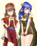 2girls bare_shoulders blue_eyes blue_hair blush bow bracelet breastplate brown_eyes brown_hair cape cosplay costume_switch dress dyute_(fire_emblem) dyute_(fire_emblem)_(cosplay) fang fire_emblem fire_emblem:_fuuin_no_tsurugi fire_emblem_echoes:_mou_hitori_no_eiyuuou fire_emblem_heroes hair_bow hands_on_hips hat highres hirotaka_(hrtk990203) jewelry lilina lilina_(cosplay) long_hair multiple_girls ponytail simple_background white_background