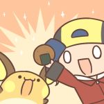 1boy :3 backwards_hat baseball_cap cafe_(chuu_no_ouchi) chibi food gen_1_pokemon gold_(pokemon) hat lowres open_mouth pokemon pokemon_(game) pokemon_gsc pokemon_hgss raichu smile