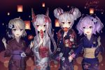 4girls :d ayanami_(azur_lane) azur_lane bangs blue_bow blue_kimono blush bow brown_kimono candy_apple commentary_request dated double_bun eyebrows_visible_through_hair fang floral_print food green_eyes grey_kimono hair_between_eyes hair_bow hand_holding hand_up hands_up headgear highres holding holding_food japanese_clothes javelin_(azur_lane) kimono laffey_(azur_lane) light_brown_hair long_hair long_sleeves looking_at_viewer multiple_girls obi open_mouth ponytail print_kimono purple_hair purple_kimono red_bow red_eyes rl_ka_qui sash side_bun sidelocks signature silver_hair smile very_long_hair violet_eyes wide_sleeves z23_(azur_lane)