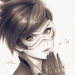 1girl bangs eyelashes freckles gloves goggles greyscale hand_to_own_mouth hand_up head_tilt heart lips looking_at_viewer monochrome overwatch parted_lips portrait short_hair signature simple_background solo swept_bangs tracer_(overwatch) umigraphics white_background