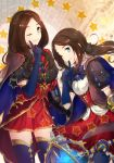 2girls ;) bangs black_bow blue_bow blue_cape blue_gloves blue_legwear blush bow brown_cape brown_hair cape closed_mouth commentary_request dual_persona elbow_gloves fate/grand_order fate_(series) finger_to_mouth forehead gauntlets gloves green_eyes hair_bow index_finger_raised leonardo_da_vinci_(fate/grand_order) long_hair multicolored multicolored_cape multicolored_clothes multiple_girls niu_illuminator one_eye_closed parted_bangs puff_and_slash_sleeves puffy_sleeves red_skirt single_gauntlet skirt smile star thigh-highs twitter_username