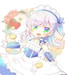 >_< 1girl :d animal apron azur_lane bangs belchan_(azur_lane) belfast_(azur_lane) bird blue_dress blue_eyes blush bow braid closed_eyes copyright_name dress eyebrows_visible_through_hair flower food frilled_apron frills fruit gloves hair_between_eyes kouu_hiyoyo long_hair looking_at_viewer maid_headdress one_side_up open_mouth pink_flower pink_rose rose silver_hair smile solo star strawberry twitter_username waist_apron white_apron white_background white_bow white_flower white_gloves younger