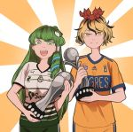 2girls adidas coca-cola commentary_request frog_hair_ornament green_eyes green_hair hair_ornament hair_tubes kochiya_sanae mefomefo multicolored_hair multiple_girls open_mouth smile soccer_uniform spanish_commentary sportswear toramaru_shou touhou trophy two-tone_hair yellow_eyes