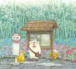 animal artist_name bamboo bamboo_forest bear berries blush bow bowtie bus_stop closed_umbrella colored_pencil_(medium) forest holding holding_umbrella looking_away looking_up nature no_humans original outdoors puddle rain raincoat red_bow red_neckwear sign st.kuma traditional_media umbrella watercolor_(medium) yellow_coat