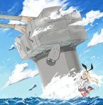 >_< 1girl black_panties blonde_hair blue_sky clenched_hand clouds crop_top elbow_gloves gloves hairband high_heels highleg highleg_panties horizontal-striped_legwear kantai_collection long_hair microskirt midriff nanao_(aoyamahikari) navel ocean panties pointing rensouhou-chan sailor_collar school_uniform serafuku shimakaze_(kantai_collection) skirt sky striped striped_legwear triangle_mouth underwear white_gloves