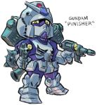 aburaya_tonbi beam_rifle character_name chibi dual_wielding energy_gun flail full_body fusion gundam looking_at_viewer mechanization mobile_suit_gundam morning_star punisher rx-78-2 simple_background solo standing the_punisher weapon weapon_on_back white_background yellow_eyes
