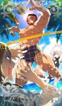 1girl 2boys artoria_pendragon_(all) beard blue_sky card_(medium) card_parody chaldea_beach_volleyball craft_essence facial_hair fate/grand_order fate_(series) grin jumping lens_flare lord_el-melloi_ii male_focus male_swimwear multiple_boys muscle ocean one-piece_swimsuit palm_tree red_eyes redhead redrop rider_(fate/zero) saber_alter scar scared sky sleeveless smile sunglasses sweat swim_trunks swimsuit swimwear tree volleyball waver_velvet