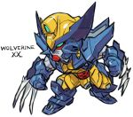 aburaya_tonbi after_war_gundam_x character_name chibi claw_(weapon) full_body fusion green_eyes gundam gundam_double_x marvel mechanization simple_background solo standing weapon white_background wolverine x-men
