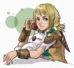 1girl blonde_hair blue_eyes blush braid final_fantasy final_fantasy_xii looking_at_viewer penelo short_hair smile solo twin_braids twintails