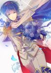 1boy blue_eyes blue_hair bouquet cape european_clothes fire_emblem fire_emblem:_ankoku_ryuu_to_hikari_no_tsurugi fire_emblem:_monshou_no_nazo fire_emblem:_shin_ankoku_ryuu_to_hikari_no_tsurugi fire_emblem:_shin_monshou_no_nazo fire_emblem_heroes flower gloves highres holding holding_bouquet kariya_(mizore) looking_at_viewer marth petals smile solo vest