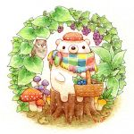 animal artist_name basket bear bird blueberry blush colored_pencil_(medium) food fruit grapefruit holding holding_basket leaf looking_at_viewer mushroom no_humans original owl sitting st.kuma traditional_media tree_stump watercolor_(medium)