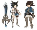1boy 1girl absurdres animal_ears bare_shoulders belt belt_buckle blue_bow blue_coat boots bow brown_hair buckle green_eyes hair_bow highres looking_at_viewer original pants pleated_skirt short_hair short_sleeves simple_background sketch skirt sookmo spiky_hair sword thigh-highs thigh_boots thigh_strap weapon white_background white_pants yellow_eyes
