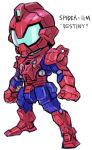 aburaya_tonbi blue_destiny_01 character_name chibi full_body fusion gundam gundam_side_story:_the_blue_destiny marvel mechanization simple_background solo spider-man spider-man_(series) spider_web_print standing white_background