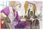 2boys black_gloves black_neckwear blonde_hair card character_name cup curtains delphox earrings elbow_gloves gloves indoors jewelry male_focus mask mimikyu mug multiple_boys ngr_(nnn204204) personification plant playing_card pokemon potted_plant purple_shirt shirt sitting stud_earrings vest white_hair white_vest window