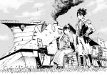 1boy 1girl absurdres black_hair boots bracer character_request crate cross-laced_footwear day flower grass greyscale ground_vehicle hair_flower hair_ornament hand_in_hair hand_on_hip highres koutetsujou_no_kabaneri ladder monochrome outdoors ponytail sitting smoke spiky_hair standing train turret ume_(yume_uta_da) wide_sleeves