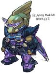 aburaya_tonbi bow_(weapon) character_name chibi full_body fusion gelgoog_marine gundam gundam_0083 hawkeye_(marvel) marvel mechanization simple_background solo standing visor weapon white_background