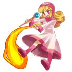 1girl blonde_hair blush breasts commentary_request curly_hair dragon_quest dragon_quest_ii dress hat hood hood_up long_hair princess princess_of_moonbrook solo sora-mame staff weapon white_dress white_robe