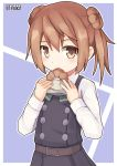 1girl artist_name brown_hair double_bun doughnut dress eating food french_cruller highres kantai_collection michishio_(kantai_collection) open_mouth outline outside_border pepatiku pinafore_dress remodel_(kantai_collection) short_twintails signature solo twintails upper_body white_border