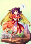 1girl dragon_wings dress fire_emblem fire_emblem:_seima_no_kouseki fire_emblem_heroes full_body highres long_hair mamkute multi-tied_hair myrrh orb purple_hair red_eyes sandals solo takoyaki_(roast) wings wristband