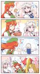 3girls 4koma beret blonde_hair blue_eyes blush braid china_dress chinese_clothes comic commentary commentary_request cooking dress flandre_scarlet frilled_shirt_collar frills from_behind green_hat hat hat_ribbon headdress highres holding holding_hat hong_meiling izayoi_sakuya jewelry kitsune_maru long_hair looking_at_viewer maid maid_headdress mob_cap multiple_girls necklace needle orange_eyes pink_shirt redhead ribbon salt sewing sewing_kit sewing_needle shirt short_hair side_ponytail silver_hair star sweatdrop tangzhuang touhou translation_request twin_braids wrist_cuffs