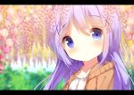 1girl bangs blue_eyes blue_hair blurry blurry_background blush brown_jacket chinomaron closed_mouth collarbone commentary_request day depth_of_field eyebrows_visible_through_hair flower gochuumon_wa_usagi_desu_ka? hair_between_eyes hair_ornament head_tilt hood hood_down hooded_jacket jacket kafuu_chino letterboxed outdoors pink_flower shirt signature smile solo white_shirt x_hair_ornament