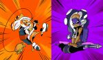 2girls cosplay donatello donatello_(cosplay) feet_together gradient_hair highres inoue_seita long_hair michelangelo michelangelo_(cosplay) multicolored_hair multiple_girls official_art orange_legwear pantyhose purple_hair purple_legwear short_hair simple_background sitting smile splatoon splatoon_2 teenage_mutant_ninja_turtles tentacle_hair two-tone_background white_hair