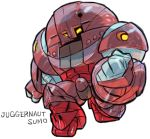 aburaya_tonbi character_name chibi clenched_hands full_body fusion gundam juggernaut_(x-men) looking_at_viewer marvel mechanization simple_background solo standing sumo_(mobile_suit) turn_a_gundam white_background x-men yellow_eyes